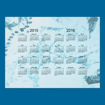 Old Turquoise Paint 2 Year 2015-2016 Wall Calendar Poster from Zazzle.com