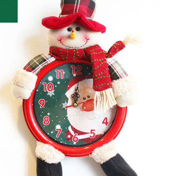Christmas Gift Santa Claus Snow Man Reindeer Doll Christmas Decoration Electronic Wall Clock Bracket Clock