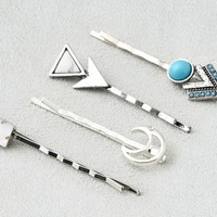 AEO Women's Silver & Turquoise Bobby Pins (Silver)