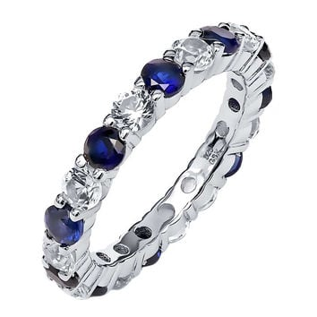 2.20 Ctw Blue White Sapphire 925 Sterling Silver Eternity Ring Bands