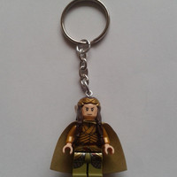 Lord of the rings hobbit Elrond    keychain keyring  made with LEGO®   minifigure