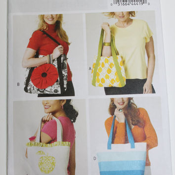 Butterick Tote bag pattern new uncut flower embellished shopping bag reusable bag four styles