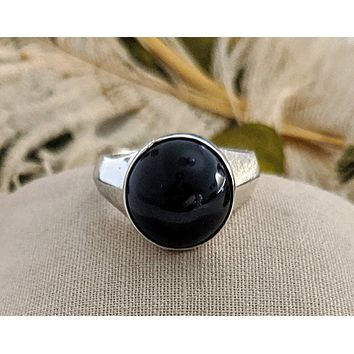 Artisan Crafted Sterling Silver Black Onyx Unisex Ring