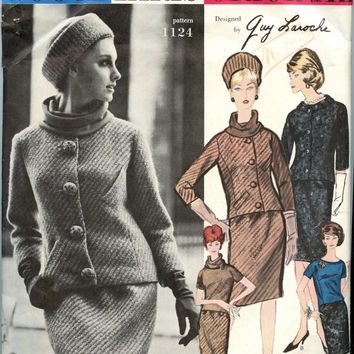 1960s Vintage Sewing Pattern Vogue Paris Original 1124 Guy Laroche Suit Pattern Fitted Jacket Straight Skirt Short Sleeve Blouse Bust 38