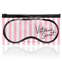 NEW! VICTORIA'S SECRET STRIPE EYE MASK SLEEP with Clear Bag Case for Travel home