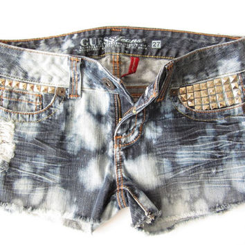 Sz 27 Distressed Lowrise Bleach Splatter Jean Shorts - Tumblr Style Denim Booty Shorts Summer Boho Chic Cutoffs Lowrise