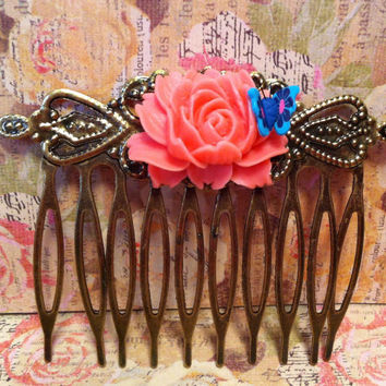 Beautiful Antiqued Bronze Hair Comb W/ Resin Flower And Polymer Clay Butterfly