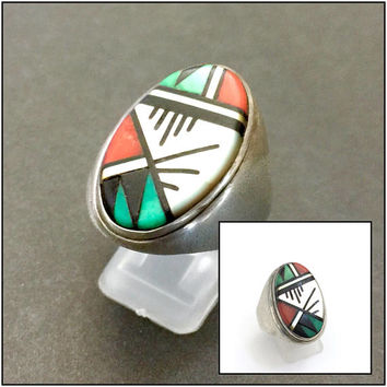 Cleo Kallestawa E.C.K. Zuni Inlayed Ring, Turquoise Mother of Pearl Coral Mussel & Jet or Onyx  Inlay, Matte Silver, Vintage Zuni Ring