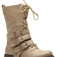Taupe Faux Leather Strappy Lace Up Combat Boots