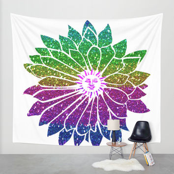 SunFlower Wall Tapestry by Haroulita
