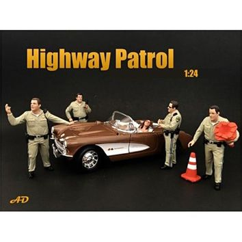 Highway Patrol Officers 4 Piece Figure Set For 1:24 Scale Models by American Diorama