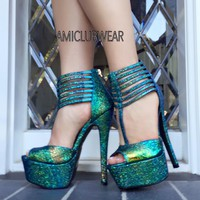 Green Peep Toe T Strap Irridescent High Heels Texture Faux Leather