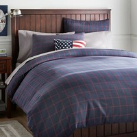 Boxter Plaid Duvet Cover + Sham, Navy/Red