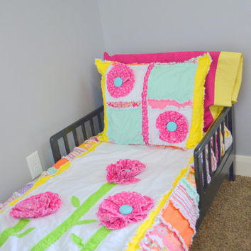 RAG QUILT, Ruffled Flower, Pink, Yellow, Orange, Toddler Bedding, Made to Order