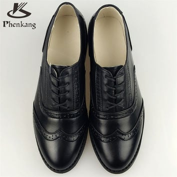 2016 Genuine leather big woman size 11 designer vintage flat shoes round toe handmade black oxford shoes for women fur
