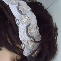 Bridal Lace Headband, Wedding Headpiece, Beaded Headband
