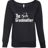 Iconic The GRANDMOTHER Fun Printed Ladies Bella 7501 Wide Neck Sweatshirt from Classic Movie Great Grandmother Ladies Pullover