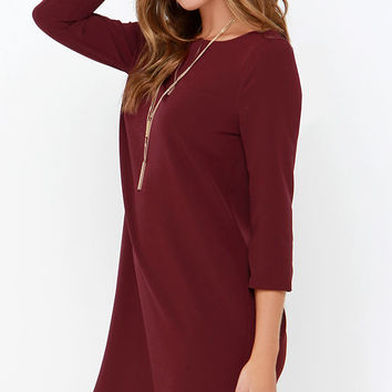 BB Dakota Devin Burgundy Shift Dress