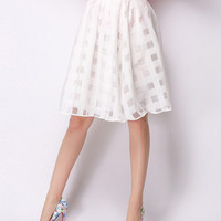 Cute High Waisted Cutout White Skirt