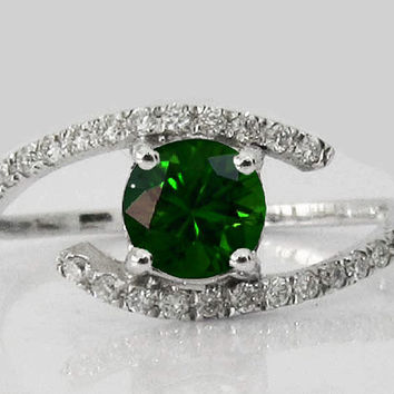 Emerald Diamond Engagement, Engagement Ring, 14K White Gold, Twist Design
