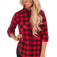 Red and Black Flannel 3/4 Sleeve Shirt