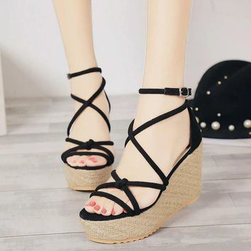 Design Summer Korean Stylish Wedge High Heel Fine Strap Cross Strap Sandals [11791885583]