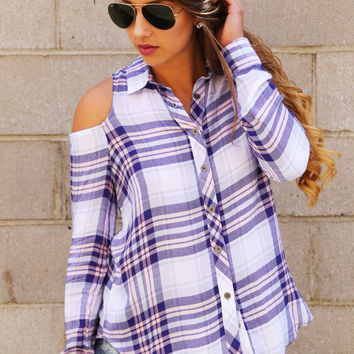 On Point Plaid Cold Shoulder Button Up