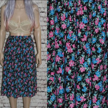 90s High Waist Skirt Midi Floral Print Cotton Black Bright Colors Neon grunge hipster boho festival Hippie L XL 12 14 Plus Size Flowy