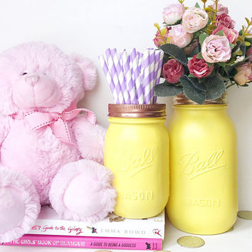 Pastel Yellow Mason Jar, Makeup brush holder, cosmetics storage, desk decor, yellow accessories, pen pot, mason jar vase, makeup organizer