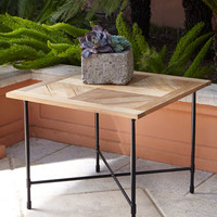 Avery Neoclassical Teak Outdoor Side Table