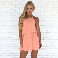 Rush Hour Romper in Coral