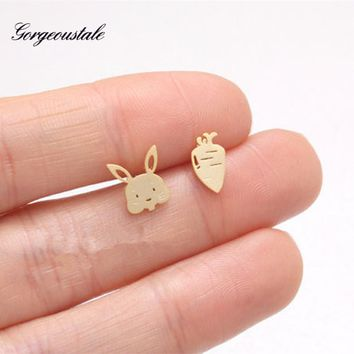 Cute Anime Bunny Rabbit Earrings For Women Silver Color Brincos Stainless Steel Stud Earring Handmade Oorbellen Fashion Jewelry