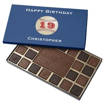 19th Birthday Chocolate Candy Baseball Personalize