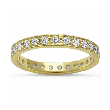 0.68ct Round Pavé Diamonds in 14K Yellow Gold Wedding Eternity Band Ring