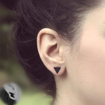 Pameng 1Pair  New fashion black Silver Color  western triangle round flash stud earrings for women gifts jewelry Gold Color