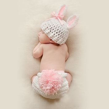Newborn Photography Props Baby Bunny Crochet Knitting Costumes Rabbit Design Hats and Briefs Bebe Clothing Accessories With Ball