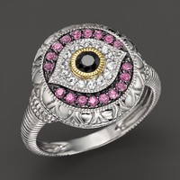 Judith Ripka Sterling Silver Evil Eye Ring with Black, White and Pink Sapphires