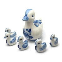Vintage Blue and White Porcelain Duck Figurines - Miniature Mother Duck and Ducklings - 6 Piece Set - Bird Animal Knick Knacks Collectibles