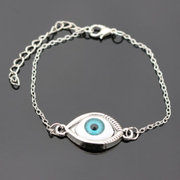 Love Vintage Silver Plated Eye Peace Friend Owl Bracelet Bangle For Women Charm Jewelry