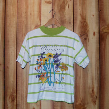 Vintage 1990's International Classics Nature Lover T-shirt with Mock Turtleneck - Green and White Stripes with Wildflowers
