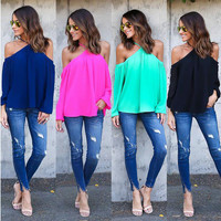 Halter Neck Cold Shoulder Blouse
