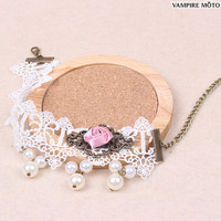 Aesthetic lolita pink rose pearl white lace anklet
