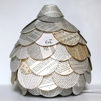 Mixed Book Page Table Lamp  Paper Lantern Light by Zipper8Lighting