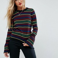 ASOS Jumper with Rainbow Stripe and Fluted Sleeve at asos.com