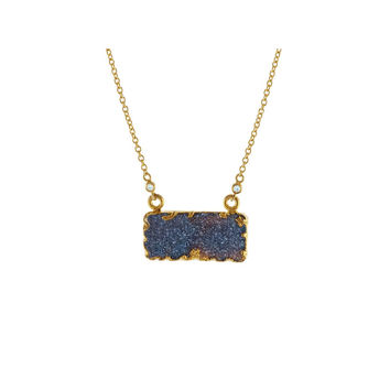 18k Gold  Plated Silver Drusy Rectangle Pendant Necklace, 16""