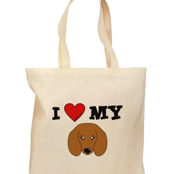 I Heart My - Cute Doxie Dachshund Dog Grocery Tote Bag by TooLoud