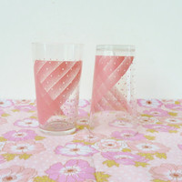 vintage pink lemonade glasses . polka dot + stripes . dinky drinking glasses . set of 4 . made in france . kitsch