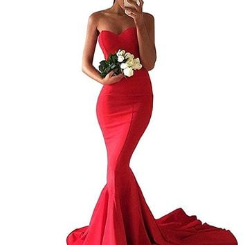 Women's Sweetheart Satin Mermaid Formal Prom Dress Sweep Train