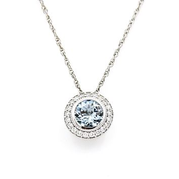 Bezel Set Aquamarine and Diamond Round Pendant Necklace in 14k White Gold 18""