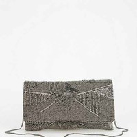 From St. Xavier Alexa Beaded Clutch- Silver One